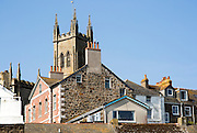 Church tower rooftops historic buildings, Penzance, Cornwall, England, UK