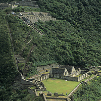 The Inca royal ceremonial site, Choquequirao sits high on a remote ridge in Peru's rugged Cordillera Vilcabamba.  This is considered to be a sister center to Machu Picchu and was mapped and investigated by Hiram Bingam in 1909, two years before he found the latter.  It has recently been renovated by the Peruvian government and is becoming an adventure travel destination.