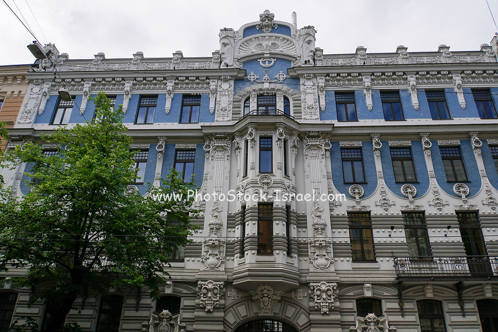Facade of blue and white Art Nouveau building, Riga, Latvia