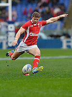 Rome, Italy -Leigh Halfpenny kicks for goal during Italia vs Galles race of the championship rugby SIX NATIONS played at the Olimpico in Rome.(Credit Image: © Gilberto Carbonari/).
