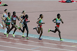 © Licensed to London News Pictures. 10/08/2012. London, UK.  The Women's 5000m final at the Olympics London 2012. Team GB athletes Jo Pavey and Julia Bleasedale having performed well early in the race, slip back with Ethiopians Meseret Defar and Tirunesh Dibaba taking the lead places.  Defar goes on to win the race.  Photo credit : Richard Isaac/LNP