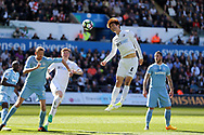 Ki Sung-Yueng of Swansea city © heads at goal.   Premier league match, Swansea city v Stoke City at the Liberty Stadium in Swansea, South Wales on Saturday 22nd April 2017.<br /> pic by Andrew Orchard, Andrew Orchard sports photography.