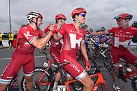 Arrival, KRISTOFF Alexander (NOR) winner, MORKOV Michael (DEN), HALLER Marco (AUT), VAN DEN BROECK Jurgen (BEL), joy Team Katusha, during the 7th Tour of Oman 2016, Stage 3, Al Sawadi Beach - Naseem Park (176,5Km), on February 18, 2016 - Photo Tim de Waele / DPPI