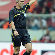 Referee's Martin ATKINSON during their UEFA EURO 2012 Qualifying round Group A matchday 19 soccer match Turkey betwen Germany at TT Arena in Istanbul October 7, 2011. Photo by TURKPIX