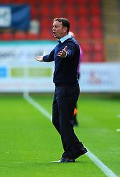 Morecambe manager Derek Adams gestures - Mandatory by-line: Nizaam Jones/JMP - 12/09/2020 - FOOTBALL - Jonny-Rocks Stadium - Cheltenham, England - Cheltenham Town v Morecambe - Sky Bet League Two