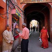 Bustling street activity at Jaipur's Pink City