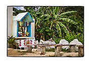 SHOT 2/17/19 11:22:36 AM - A small roadside capilla serving as an altar outside a home along Highway 307 in Chunyaxche, Quintana Roo, Mexico. The capilla featured multiple Nuestra Senora de Guadalupe statues as well as a cross with Jesus on it. The capillas are often dedicated to certain patron saints, such as Nuestra Senora de Guadalupe. Often times they contain prayer candles, pictures, personal artifacts or notes. Muyil (also known as Chunyaxche) was one of the earliest and longest inhabited ancient Maya sites on the eastern coast of the Yucatan Peninsula. It is located approximately 15 kilometres (9.3 mi) south of the coastal site of Tulum, in the Municipality of Felipe Carrillo Puerto in the state of Quintana Roo, Mexico. (Photo by Marc Piscotty / © 2019)