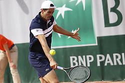 May 23, 2019 - Paris, France - Guillermo Garcia-Lopez of ESP vs Oscar Otte of GER in the third round of Roland Garros qualifications  (Credit Image: © Ibrahim Ezzat/NurPhoto via ZUMA Press)