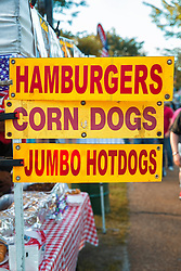 Hamburgers, Corn Dogs and Jumbo Hotdogs - Yup, true American Eats!