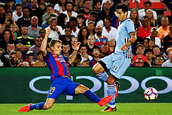 August 10, 2016 - Barcelona, Catalonia, Spain - Lucas Digne and Ricardo Gabriel Alvarez during the match corresponding to the Joan Gamper Trophy, played at the Camp Nou stadiium, on august 10, 2016. (Credit Image: © Joan Valls/NurPhoto via ZUMA Press)