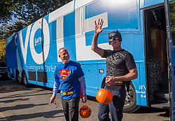 October 31, 2018 - Sacramento, CA, USA - Lt. Governor Gavin Newsom, Batman,and Sacramento Mayor Darrell Steinberg, Superman, arrive to pass out candy at the Penleigh Child Development Center on Wednesday, October 31, 2018 in Sacramento. (Credit Image: © Paul Kitagaki Jr./ZUMA Wire)
