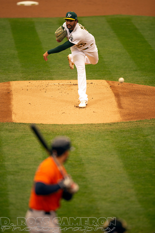 Sep 10, 2020; Oakland, California, USA; Oakland Athletics starting pitcher Sean Manaea (55) delivers a pitch against the Houston Astros during the first inning of a baseball game at Oakland Coliseum. Mandatory Credit: D. Ross Cameron-USA TODAY Sports