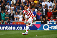 Xherdan Shaqiri of Stoke City controls the ball. Barclays Premier League match, Stoke city v West Bromwich Albion at the Britannia stadium in Stoke on Trent, Staffs on Saturday 29th August 2015.<br /> pic by Chris Stading, Andrew Orchard sports photography.
