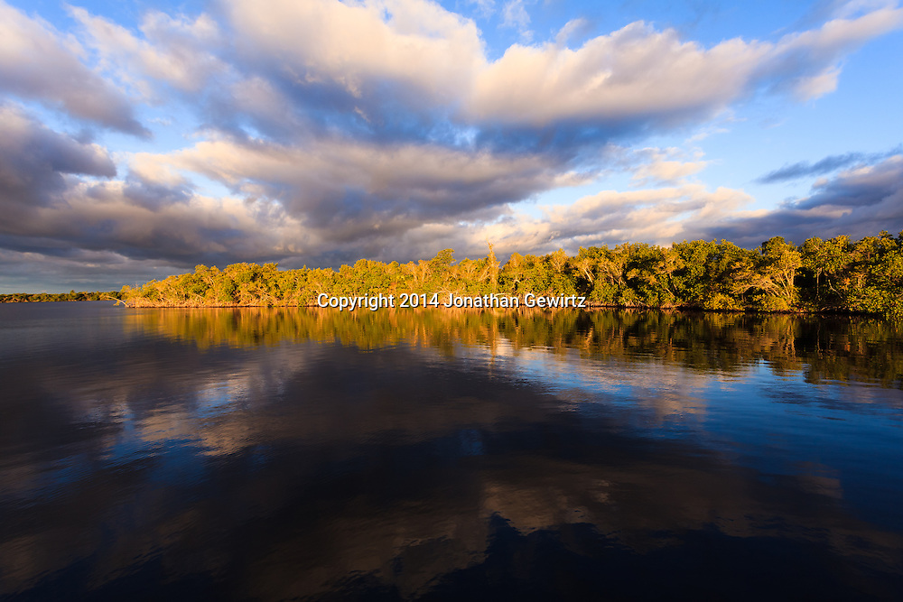 A sunrise view of water, sky and mangrove forest from a chickee on the Wilderness Waterway in Everglades National Park, Florida.<br /> WATERMARKS WILL NOT APPEAR ON PRINTS OR LICENSED IMAGES.