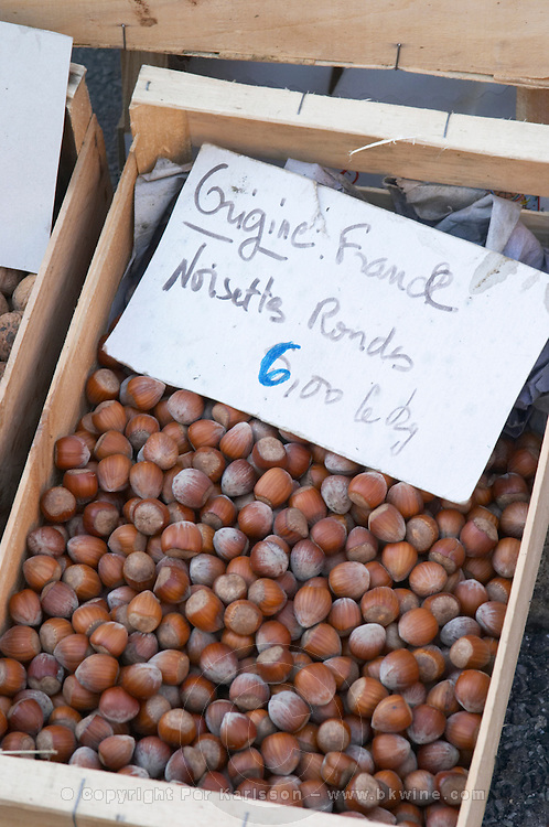 Hazelnut nuts for sale at a market stall at the market in Bergerac for 6 euro per kilo. Bergerac Dordogne France