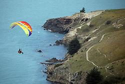 December 8, 2018 - Christchurch, New Zealand - A paraglider performs from Taylors Mistake flying site in Sumner, Christchurch, New Zealand on December 07, 2018. (Credit Image: © Sanka Vidanagama/NurPhoto via ZUMA Press)