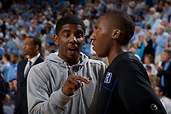 CHAPEL HILL, NC - MARCH 05: (L-R) Kyrie Irving #1 of the Duke Blue Devils speaks with Nolan Smith #2 during halftime while playing the North Carolina Tar Heels on March 05, 2011 at the Dean E. Smith Center in Chapel Hill, North Carolina. North Carolina won 67-81. (Photo by Peyton Williams/UNC/Getty Images) *** Local Caption *** Kyrie Irving;Nolan Smith
