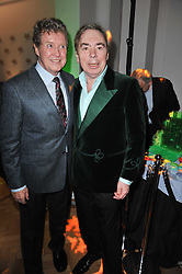 Left to right, MICHAEL CRAWFORD and ANDREW LLOYD WEBBER at the press night of the new Andrew Lloyd Webber  musical 'The Wizard of Oz' at The London Palladium, Argylle Street, London on 1st March 2011 followed by an aftershow party at One Marylebone, London NW1