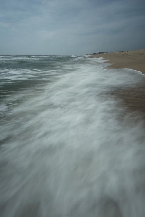 Atlantic Ocean waves reaching the shore of Nantucket at Cisco.