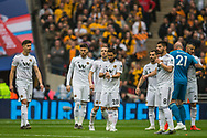 Wolverhampton Wanderers FC players at the start of the FA Cup semi-final match between Watford and Wolverhampton Wanderers at Wembley Stadium in London, England on 7 April 2019.