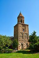 Pictures & images of the medieval Georgian Orthodox  brick belltower within the same complex dating from 1520-1574, Ninotsminda Cathedral ruins, 575 AD, Sagarejo, in the Kakheti region, Georgia (country).<br /> <br /> Ninotsminda Cathedral is a highly important Georgian architectural building, which served as a model for the development of the later tetraconch, four-apse design of church. .<br /> <br /> Visit our MEDIEVAL PHOTO COLLECTIONS for more   photos  to download or buy as prints https://funkystock.photoshelter.com/gallery-collection/Medieval-Middle-Ages-Historic-Places-Arcaeological-Sites-Pictures-Images-of/C0000B5ZA54_WD0s<br /> <br /> Visit our REPUBLIC of GEORGIA HISTORIC PLACES PHOTO COLLECTIONS for more photos to browse, download or buy as wall art prints https://funkystock.photoshelter.com/gallery-collection/Pictures-Images-of-Georgia-Country-Historic-Landmark-Places-Museum-Antiquities/C0000c1oD9eVkh9c