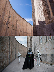 08.03.2016, Dubrovnik, CRO, Star Wars: Episode VIII, Drehort Dubrovnik, im Bild oberes Foto: Touristen in der Stadt - unteres Foto: Mitglieder der MOS Croatia Spaceport als Darth Vader und Sturmtruppen verkleidet in der Altstadt wo die Dreharbeiten zu Star Wars Episode VIII am 8. Mearz beginnen sollen und neune Tage andauern. // Walls of Dubrovnik - Bottom photo: 27.02.2016, Croatia, Dubrovnik - Members of the association of fans of Star Wars - Mos Croatia Spaceport dressed as a Stormtrooper and Darth Vader walked the old town where everything is ready to start filming Star Wars: Episode VIII. Filming will began on March 8 and will last for nine days.The set of the new Star Wars film is to be protected by drones to stop fans using their own flying gadgets to get a sneak peek of Episode VIII. Dubrovnik, Croatia on 2016/03/08. EXPA Pictures © 2016, PhotoCredit: EXPA/ Pixsell/ PIXSELL<br /> <br /> *****ATTENTION - for AUT, SLO, SUI, SWE, ITA, FRA only*****