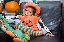 Little boy dressed up for Halloween,