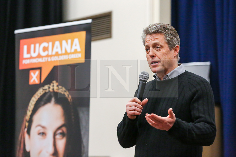 © Licensed to London News Pictures. 01/12/2019. London, UK. Actor and film producer, HUGH GRANT, speaks at a rally to Liberal Democrat members and party activist at Woodhouse College in Finchley, North London as he joins  Liberal Democrats' parliamentary candidate for Finchley & Golders Green, LUCIANA BERGER, to bid to stop a Conservative majority and Stop Brexit. Photo credit: Dinendra Haria/LNP