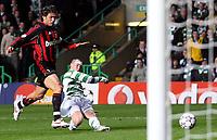 Photo: Paul Thomas.<br /> Glasgow Celtic v AC Milan. UEFA Champions League. Last 16, 1st Leg. 20/02/2007.<br /> <br /> Kenny Miller (R) of Celtic has this shot saved.