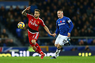Kiko Femenia of Watford (l) and Wayne Rooney of Everton in action. Premier league match, Everton vs Watford at Goodison Park in Liverpool, Merseyside on Sunday 5th November 2017.<br /> pic by Chris Stading, Andrew Orchard sports photography.