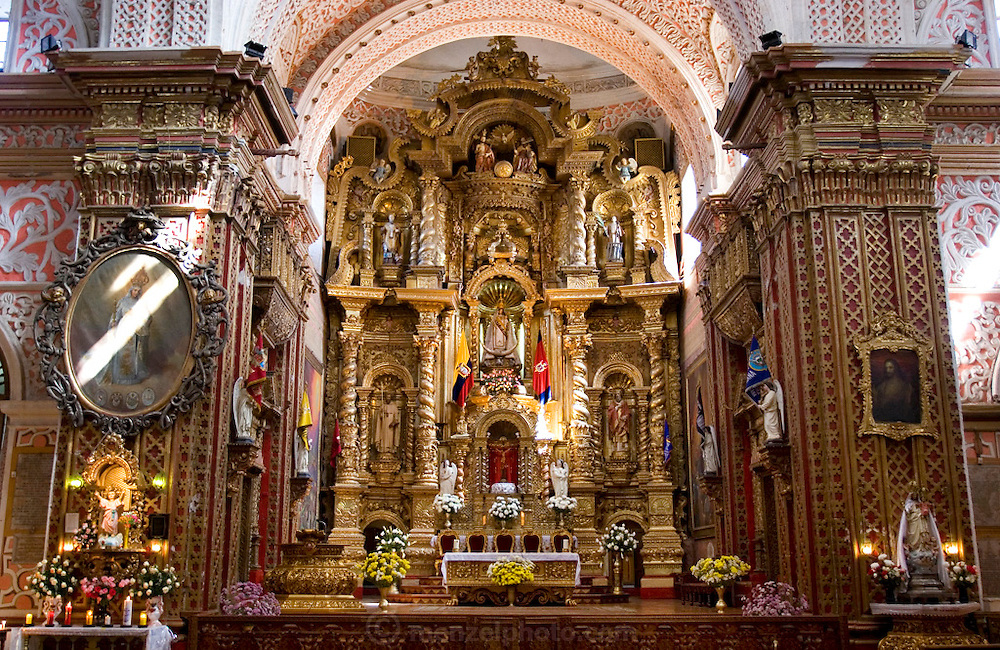 Cathedral interior with ornate altar, Quito, Ecuador.