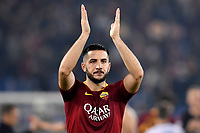 Kostas Manolas of AS Roma waves fans at the end of the Uefa Champions League 2018/2019 Group G football match between AS Roma and CSKA Moscow at Olimpico stadium Allianz Stadium, Rome, October, 23, 2018 <br />  Foto Andrea Staccioli / Insidefoto