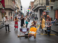 NEW ORLEANS - CIRCA FEBRUARY 2014: Music band performing in the streets of famous French Quarter in New Orleans