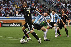 03.07.2010, CAPE TOWN, SOUTH AFRICA, Bastian Schweinsteiger of Germany attempts to get past Gonzalo Higuain of Argentina's attempted tackle  during the Quarter Final, Match 59 of the 2010 FIFA World Cup, Argentina vs Germany held at the Cape Town Stadium EXPA Pictures © 2010, PhotoCredit: EXPA/ nph/  Kokenge