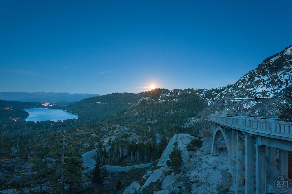 """""""Full Moon above Donner Lake 5"""" - This full moon was photographed rising above Donner Lake and Rainbow Bridge in Truckee, California."""
