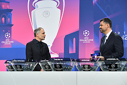 NYON, SWITZERLAND - Monday, December 14, 2020: Special guest Stéphane Chapuisat (L) with presenter Pedro Pinto during the UEFA Champions League 2020/21 Round of 16 draw at the UEFA Headquarters, the House of European Football. (Photo Handout/UEFA)