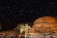 Starry night sky, Captain's Desert Camp in the Arabian Desert at Wadi Rum, Jordan.