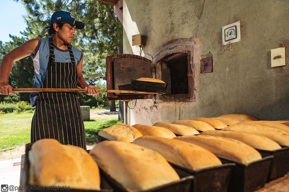 Fresh baked bread is cooling at Estancia Paso Flores, Rio Negro, Argentina.