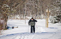 Bill Kosla takes a few laps on the fresh snow from Wednesday's storm at Bolduc Park on Thursday afternoon.  (Karen Bobotas/for the Laconia Daily Sun)