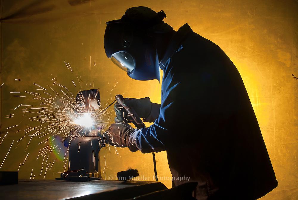 DOW Plaquemine welder works in the plants maintenance shop.