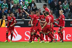 MOENCHENGLADBACH, Oct. 22, 2017  Players of Leverkusen celebrate after scoring during the Bundesliga match between Borussia Moenchengladbach and Bayer 04 Leverkusen in Moenchengladbach, Germany, on October 21, 2017. Borussia Moenchengladbach lost 1-5. (Credit Image: © Ulrich Hufnagel/Xinhua via ZUMA Wire)