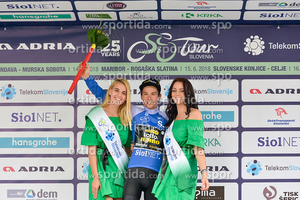 Primoz Roglic of Team Lotto NL Jumbo celebrates in blue jersey as best in mountain classification during trophy ceremony after the 3rd Stage of 25th Tour de Slovenie 2018 cycling race between Slovenske Konjice and Celje (175,7 km), on June 15, 2018 in Slovenia.Photo by Mario Horvat / Sportida