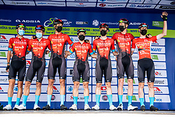 Team Bahrain Victorious with Matej Mohoric and Jan Tratnik during the 5th Stage of 27th Tour of Slovenia 2021 cycling race between Ljubljana and Novo mesto (175,3 km), on June 13, 2021 in Ljubljana - Novo mesto, Ljubljana - Novo mesto, Slovenia. Photo by Vid Ponikvar / Sportida