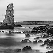 Sea Stack - North Wilder Ranch Cove - Santa Cruz, CA - Black & White