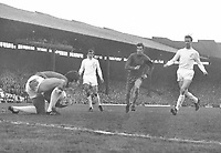 Football -  1969 / 1970 FA Cup final replay <br /> Chelsea v Leeds United, 29/04/1970<br /> <br /> Goalkeeper, David Harvey of Leeds collects the ball from Terry Cooper, Peter Osgood and Jackie Charlton at Old Trafford.<br /> <br /> Credit: Colorsport  / Provincial press