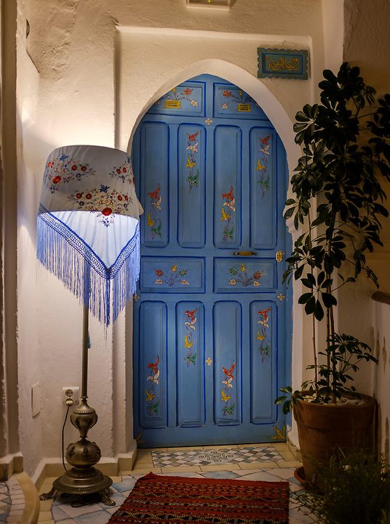 CHEFCHAOUEN, MOROCCO - CIRCA APRIL 2017:  Interior door of the traditional Riad Cherifa in Chefchaouen.