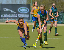 Michelle Dykman of Eunice and Suzannne Vermeulen of Waterkloof during day two of the FNB Private Wealth Super 12 Hockey Tournament held at Oranje Meisieskool in Bloemfontein, South Africa on the 7th August 2016, <br /> <br /> Photo by:   Frikkie Kapp / Real Time Images