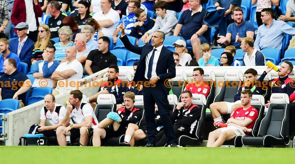 Brighton manager Chris Hughton during the Sky Bet Championship match between Brighton and Hove Albion and Barnsley at the American Express Community Stadium in Brighton and Hove. September 24, 2016.<br /> Simon  Dack / Telephoto Images<br /> +44 7967 642437