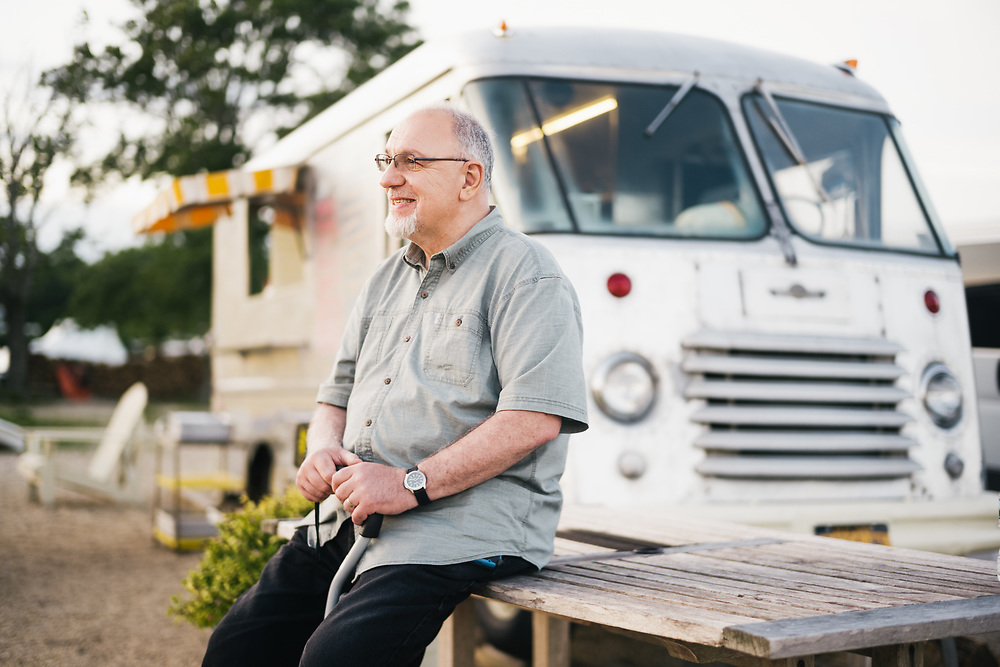 EAST MORICHES, NY –JUNE 26, 2019: John Tanzi arrives for a family meal at the Silly Eats Food Truck, located at at the Silly Lily Fishing Station.