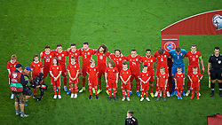 CARDIFF, WALES - Friday, September 6, 2019: Wales players line-up before the UEFA Euro 2020 Qualifying Group E match between Wales and Azerbaijan at the Cardiff City Stadium. L-R: Daniel James, Harry Wilson Tom Lawrence, Chris Mepham, Ethan Ampadu, Joe Allen, Connor Roberts, Neil Taylor, Joe Rodon, goalkeeper Wayne Hennessey and captain Gareth Bale. (Pic by Paul Greenwood/Propaganda)